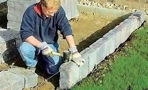palisaden setzen ohne beton rasenkantensteine setzen garten