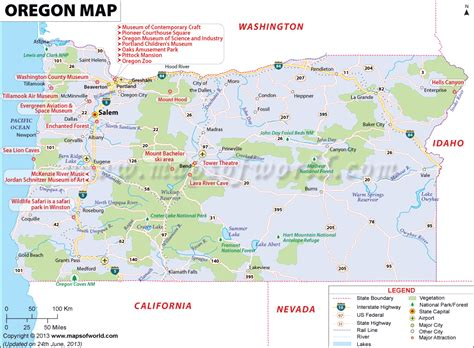oregon map showing  major travel attractions including