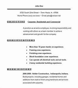 carpenter resume template 9 free samples examples With carpenter resume template