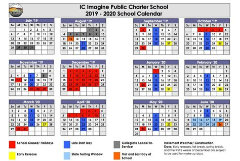 school year calendar ic imagine public charter school