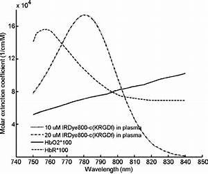 Molar extinction coefficient spectra of 10 M IRDye800-c(KRGDf) in... | Download Scientific Diagram