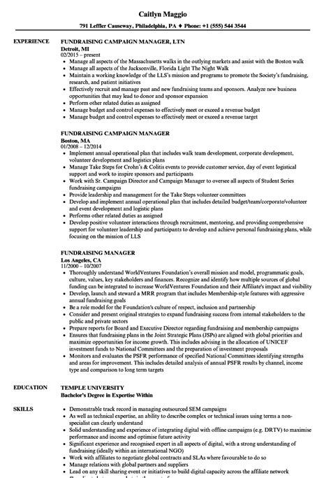 Fundraising Resume by Fundraising Assistant Sle Resume Sarahepps
