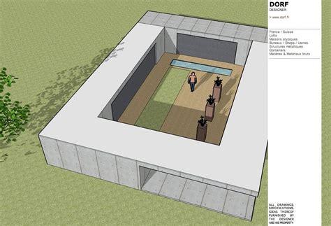 plan de maison en u avec patio