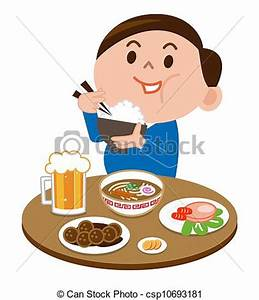 A fat man eating food stock illustration - Search EPS Clip ...
