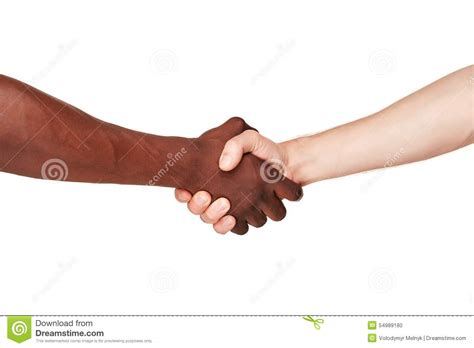 Black And White Human Hands In A Modern Handshake Stock ...