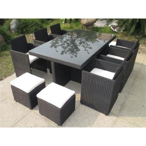ensemble de jardin en r 233 sine tress 233 e encastrable 8 places noir achat vente salon de jardin