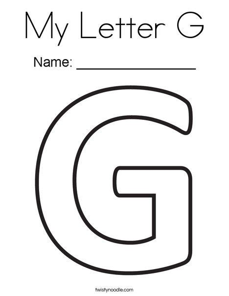 Coloring Letter G by My Letter G Coloring Page Twisty Noodle Letter Crafts