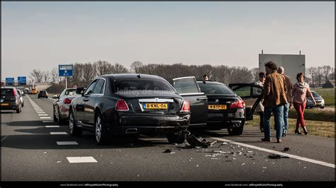 bmw  crashes  rolls royce ghost  ede netherlands