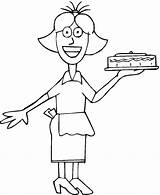 Coloring Occupation Waitress Waiter Template Sketch Printable Getcolorings sketch template