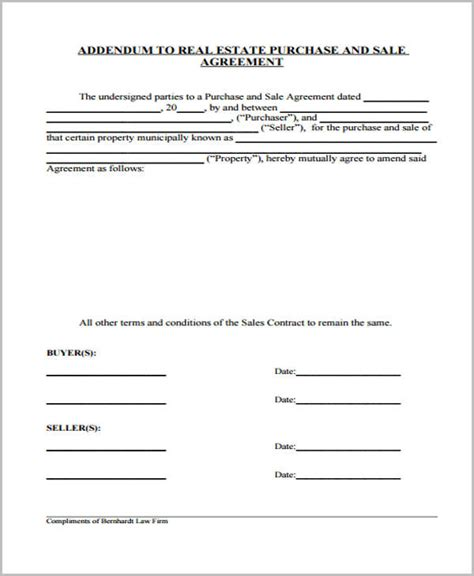 contract addendum template 29 sle sales agreement form