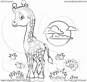 Clipart of a Black and White Lineart Cute Baby Giraffe and ...
