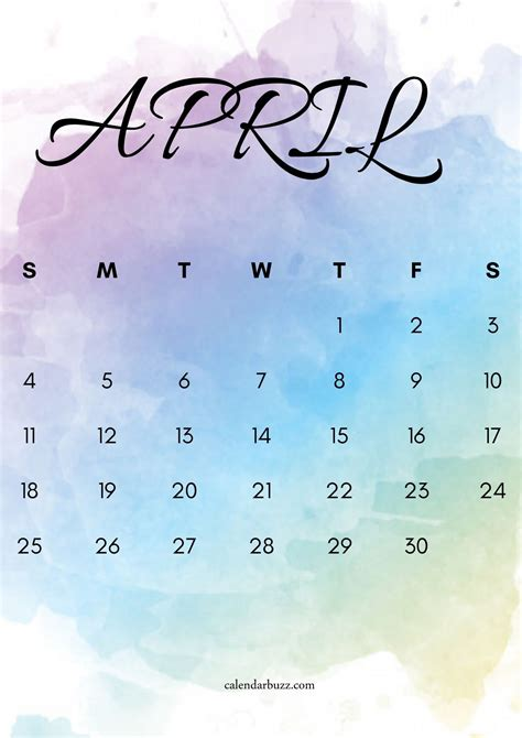 april  watercolor calendar printable