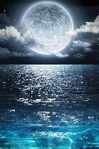 wallpaper, full, moon, , blue, sea, , clouds, , night, , beautiful