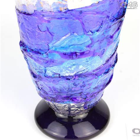 Glass Vases by Vase Sbruffi Waves Blue Murano Glass Vase
