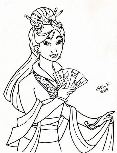 Coloring Pages Mulan Court Disney Royal Adult