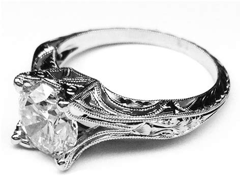 engagement ring vintage petite hand engraved white gold