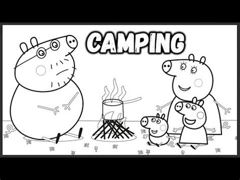 peppa pig daddy pig camping coloring book pages