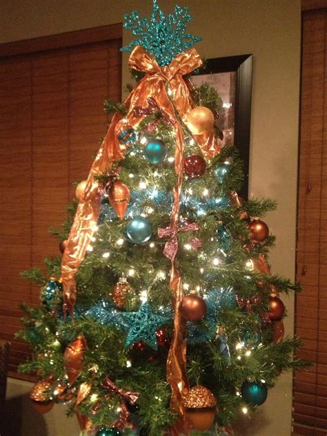 copper christmas teal and copper christmas tree copper and teal pinterest