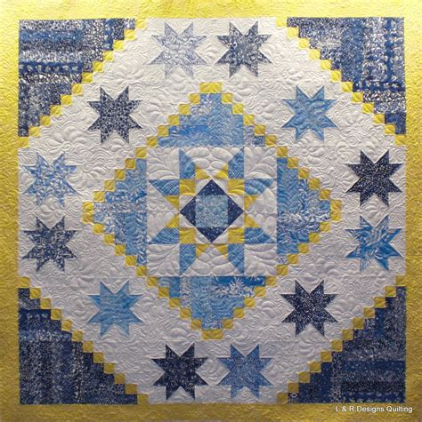 blue and white quilts three blue yellow and white quilts