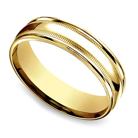 milgrain men s wedding ring in yellow gold 6mm