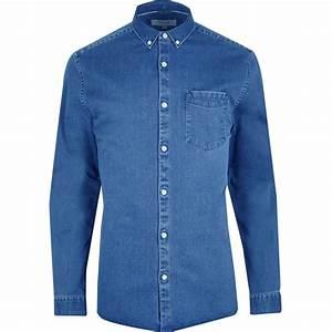 Big and Tall blue button-down denim shirt - Long Sleeve Shirts - Shirts - men