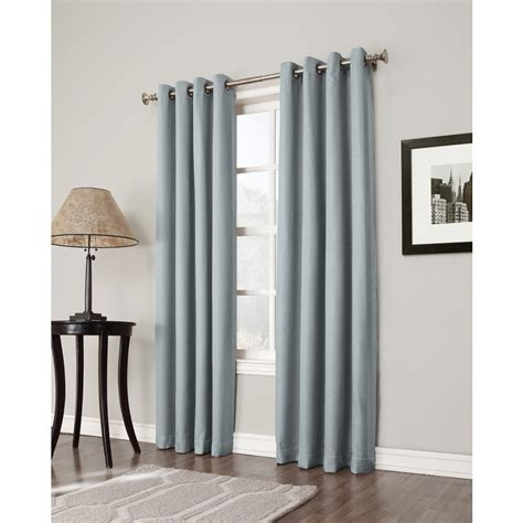 Allen Roth Curtains Blue by Shop Allen Roth Bandley 84 In Sky Blue Polyester Grommet