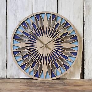 Contemporary, Oak, Faced, Laser, Cut, Layered, Clock, By, Denvers, Designs