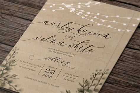 Rustic Wedding Invitation Suite Creative template
