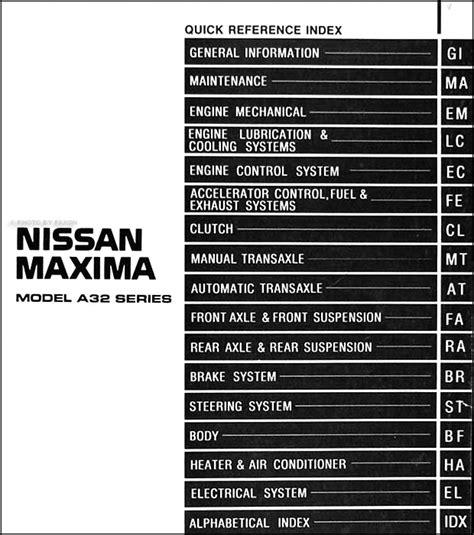 nissan maxima repair shop manual original