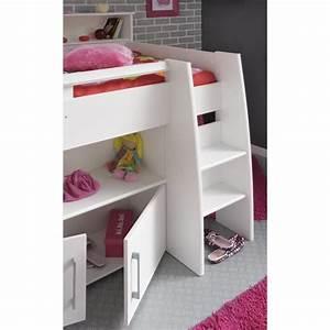 Lit Combiné Bureau : dave lit combin 90cm bureau rangement blanc achat ~ Premium-room.com Idées de Décoration
