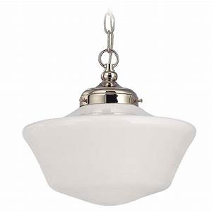 Inch schoolhouse pendant light in polished nickel with