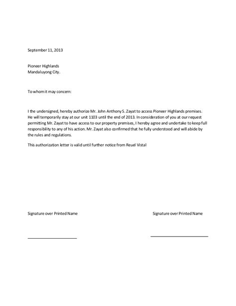 sample authorization letter  travel clearance