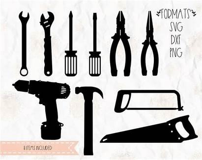 Silhouette Cricut Drill Svg Tools Hammer Handyman