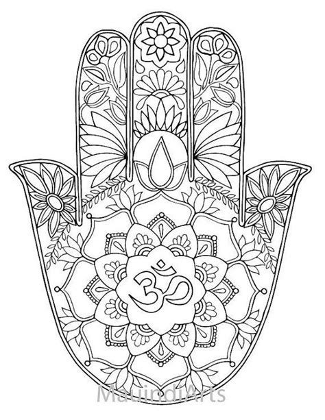Hand Drawn Adult Coloring Page Print Hamsa Om by MauindiArts | Adult Coloring Printables