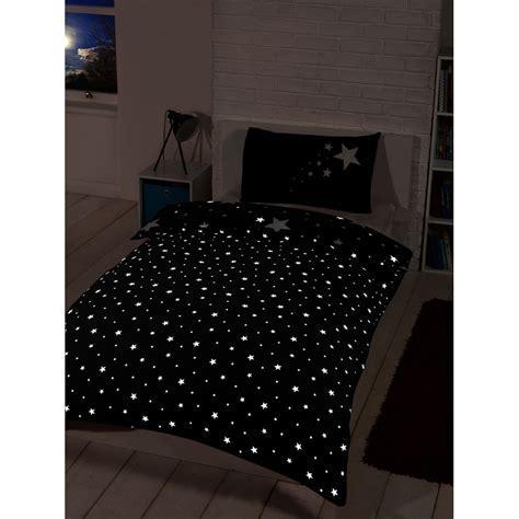 Glow in the Dark Single Duvet Set   Black   Bedding