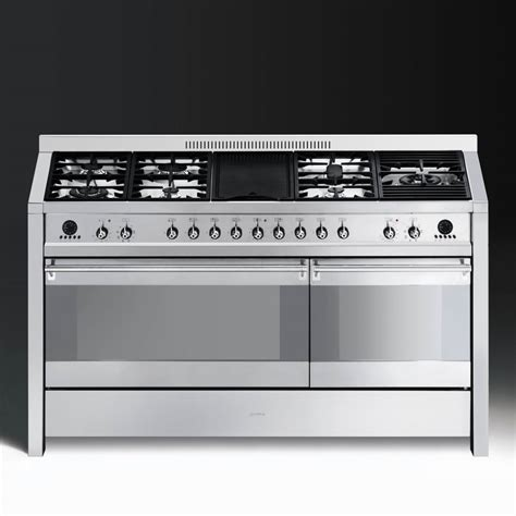 smeg opera a5 8 dual fuel 150cm range cooker stainless steel with chrome trim