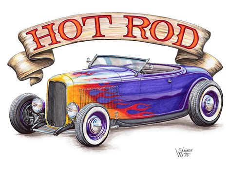 hot rod roadster drawing  shannon watts