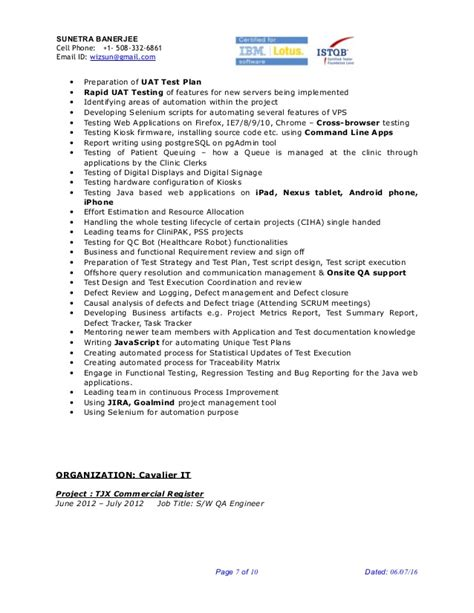 Lead Project Engineer Resume by Sunetra Banerjee Sr Qa Engineer Project Lead Resume