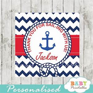 Navy & Red Nautical Anchor Baby Shower Square Labels