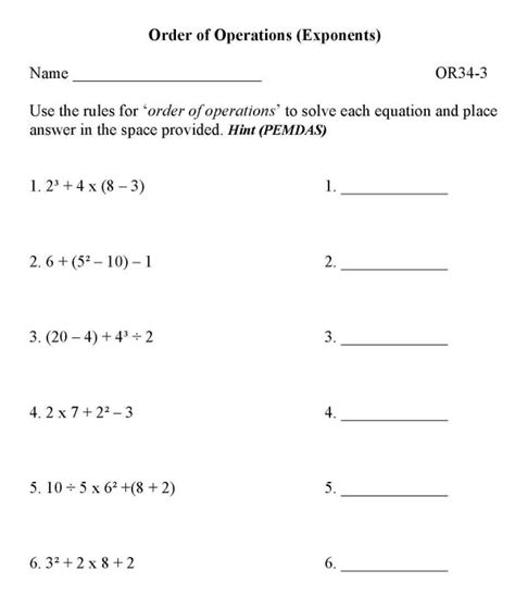 Free Math Worksheets Order Of Operations With Exponents  Order Of Operations Free Math