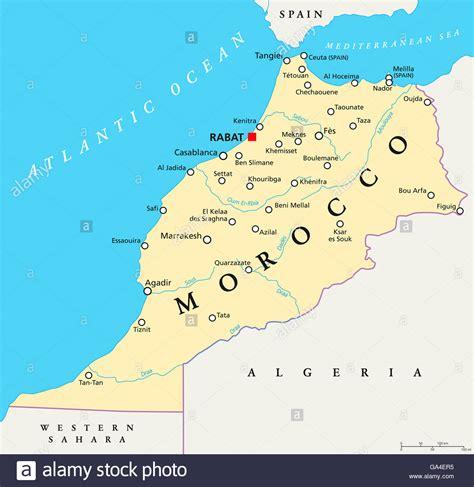 marokko landkarte mit hauptstadt rabat landesgrenzen