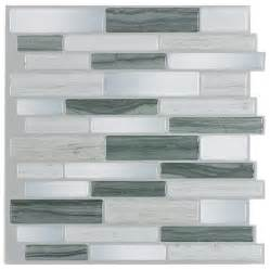 peel and stick kitchen backsplash tiles shop peel stick mosaics grey mist linear mosaic composite wall tile common 10 in x 10 in