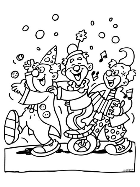 Optocht Kleurplaat by Kleurplaat Clowns School Carnaval Clowns
