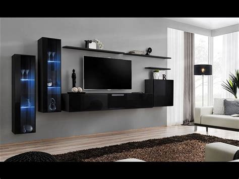 Black Living Room Wall Units by Shift Xi Seattle Collection High Gloss