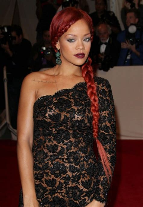 rihanna long braided red hairstyle hairstyles weekly