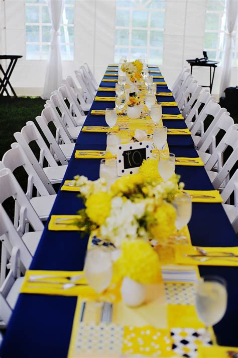 navy  yellow reception decor