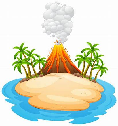 Volcano Eruption Island Clip Vector Clipart Vectors