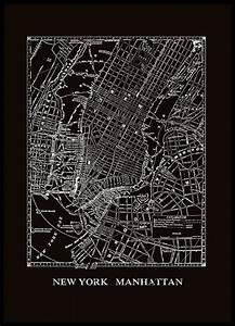 Poster med karta över New York, Manhattan.