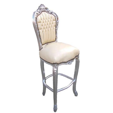 chaise bois et simili cuir chaise de bar de style baroque tissus simili cuir beige et