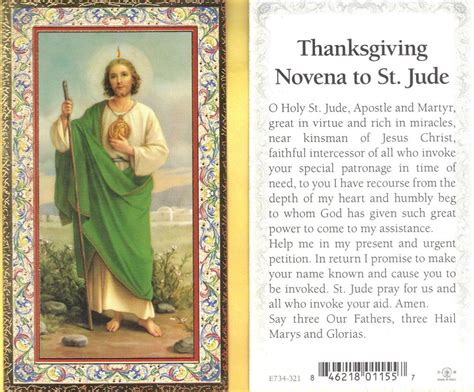 st jude with thanksgiving novena to st jude gold trim paperstock holy card ebay